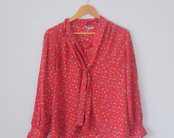 Vintage Long Sleeved Floral Blouse with Neck Tie