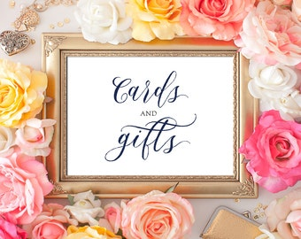 Wedding Cards and Gifts Sign 5x7 Navy Blue Calligraphy Cards and Gifts Sign DIY Wedding Printable Image Digital INSTANT DOWNLOAD 300dpi