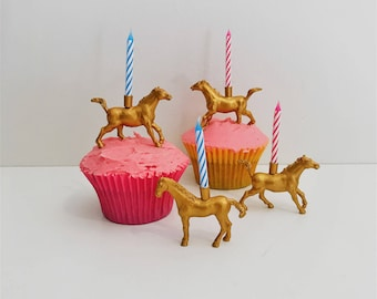 Gold Horse Candle Holder Cake Topper // Animal Birthday Party Decor // Party Supplies // Fun Animal Party Decor // Cupcake Decoration