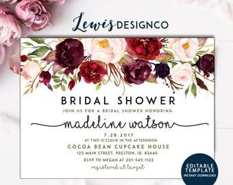 Bridal Shower Invitation | Watercolor bridal invite | Floral Bridal Shower Card | Instant Digital Download File PDf | Flower Bride DIY | Do