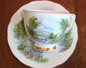 Colclough Bone China Made in England - Vintage Tea Cup and Saucer - Scenic - Stream, Trees - Gold Band on Foot