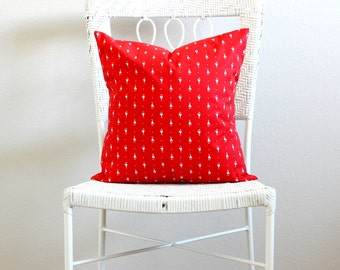 Vintage Red Sail Boat Decorative Pillows, Red Nautical Couch Pillow Covers, Red and White Decorative Throw Pillow, Red Pillow Sham