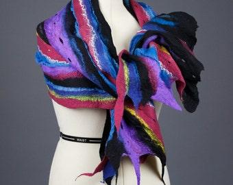 Multicolor Scarf  / Nuno felting scarf / Felted  Scarf  / Handmade Felted Scarf / Merino wool / Wool Scarf / Silk Shawl / Free shipping.