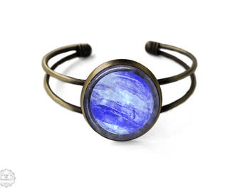 Neptune Cuff Bracelet | Neptune Bracelet Planet Bangle Neptune Jewelry Planet Bracelet Science Jewelry Galaxy Bracelet Planet Space Grunge