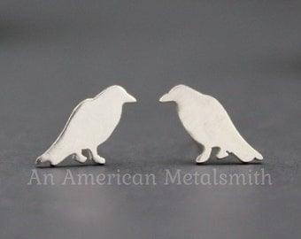 Raven Earrings, Silver Crow Earrings, Raven Jewelry, Crow Jewelry, Edgar Allan Poe, Bird Earrings, Pagan Earrings, Tiny Stud Earrings, Raven