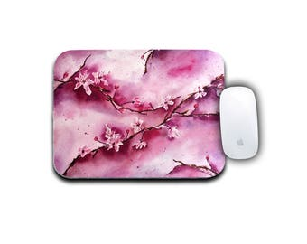 Flower Mousepad, Office Decor, Round Mousepad, Cherry Blossoms, Computer Mousepad, Watercolor Floral, Office Accessories, Floral Decor,