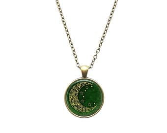 Moon symbol pendant Space jewelry Astronomy necklace