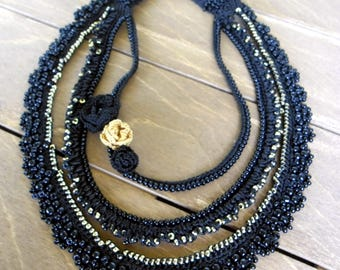 Necklace, Black Necklace, Crochet Necklace, Beaded Necklace, Choker, Crochet Choker, Crochet Jewelry,
