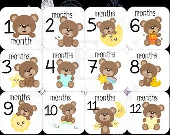 Baby Bear Month Stickers - Gender Neutral Monthly stickers - Baby month stickers -  Months 1-12 stickers - baby bear nursery