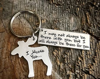 Long distance relationship Hand Stamped Moose Keychain I Moose You I Miss You Keychain boyfriend gift going away gift bff gift