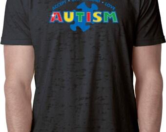 Men's Autism Accept Understand Love Burnout Tee T-Shirt XIT-13562-NL6110