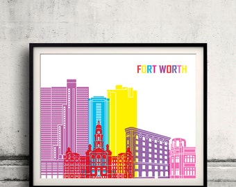 Fort Worth pop art skyline - Fine Art Print Glicee Poster Gift Illustration Pop Art Colorful Landmarks - SKU 2255