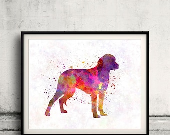 German Hound 01 in watercolor - Fine Art Print Poster Decor Home Watercolor Illustration Dog - SKU 2288