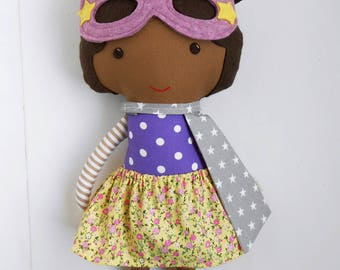 African-american superhero girl rag doll with superhero mask and cape as a gift for mixed kids for superhero girl birthday fabric black doll