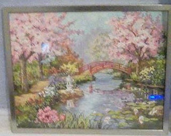 Japanese Garden painting with frame.
