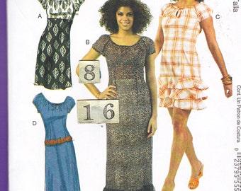 Women's Empire Waist, Ruffled Peasant Dress/ McCalls 6346 Womens Boho Gathered, Long Summer Dress UnCut Sewing Pattern/ Size 8 10 12 14 16