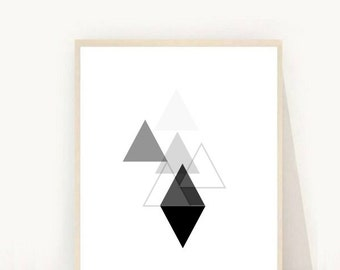 Geometric Print, Triangle Print, Geometric Wall Art,  Instant Download, Printable Art, Minimalist Print, Modern Minimalist , Wall Decor