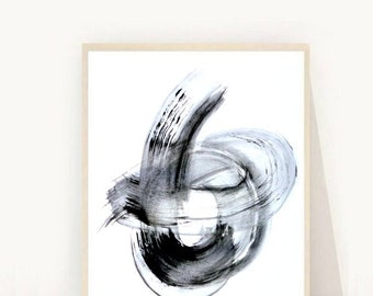 Abstract Art Print, Black and White Art, Giclee Print, Modern Wall Art, Minimalist Art, Scandinavian Art, Wall Decor, Black Abstract