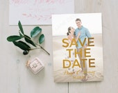 Personalised Printable Card SavetheDate Card Gold Foil Effect Paige Floral Collection PDF