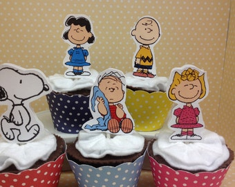 Peanuts, Charlie Brown, Snoopy Party Cupcake Topper Decorations - Set of 10