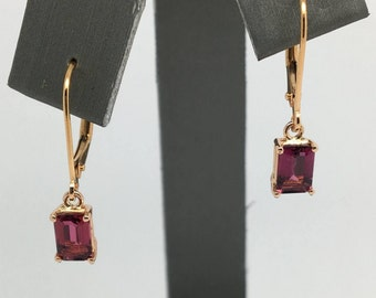14K Solid Rose Gold Emerald Cut Natural Pink Tourmaline Leverback Dangling Earrings