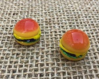 1   Cheeseburger Lampwork Glass Bead   Hamburger Necklace   Food Beads   Sandwich   18x18x15mm