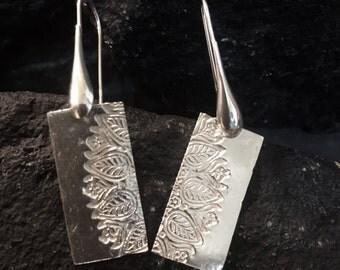 Sterling Silver Bar Earrings Silver Lotus Earrings Yoga Earrings Sterling Flower Earrings Flower Dangle Earrings  Recycled Silver