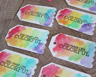 Classroom Valentine (8)/School Valentine/Art Party Favor/Rainbow Tag