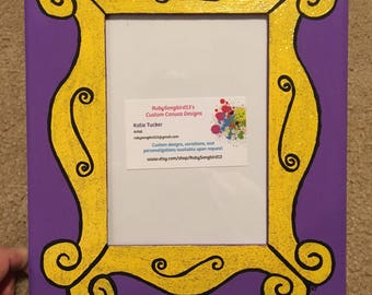 "FRIENDS Purple Door Yellow Frame 5"" X 7"" Photo Slot Picture Frame Hand-Painted FRIENDS TV Show Larger Version"