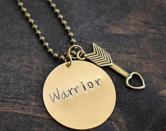 "Hand Stamped ""Warrior"" Necklace with Arrow Charm *Hand Stamped Jewelry*Arrow Necklace*Gift for Her*"