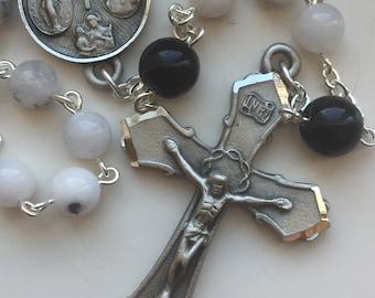 Handmade Gemstone Rosary, White Dendritic Quartz and Black Jasper, Pewter, Four Way Medal Center, Striking Black and White, Free Ship USA