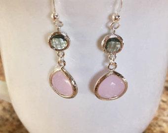 Pink and Gray Earrings, Gray Earrings, Bridal Earrings, Bridesmaid Earrings, Drop Earrings, Dangle Earrings