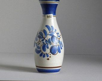 Vintage BAY KERAMIK 86-26 Blue and White Ceramic Vase Floral Decor, 60's - 70's West Germany Art Pottery Mid Century Fat Lava Era