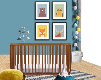 Woodland nursery art print, kids wall decor, animal nursery wall art, print set of 4, owl, bear print, deer print, fox print