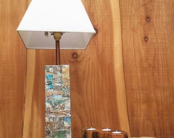 Totally Unique Lamp Base - Reclaimed Wood Decorated With Embossed Beer Can Strips - Brand New Technique.