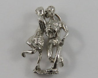 Couple Square Dancing Sterling Silver Vintage Charm For Bracelet