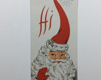 Silver Glittered Stocking Capped Santa Vintage 1940s Christmas Greeting Card