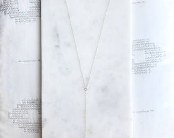 Natural Freshwater Pearl Lariat Drop Necklace with 14k Gold Fill Chain