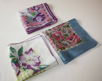 Sweet Floral Vintage Hankies: 3-Piece Set