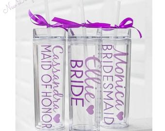 4 Custom skinny tumblers, bridal set, personalized cups, bridal shower gift, wedding gift, wedding favors, bridesmaids gift, wedding gift