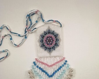 Beaded White, Blue, Pink, and Silver Geometric Star Design Peyote Pouch Necklace, Native American Style Medicine Bag