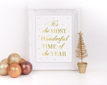 "Christmas It's the Most Wonderful Time of the Year Art Gold Foil Sign, 8""x10"", Christmas Decor, Holiday Decorations, Party, Instant Download"