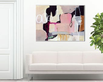 Gift for her, large pink abstract painting, minimalist abstract, GICLEE PRINT, original abstract painting print, wall art  ~ Glissade #2