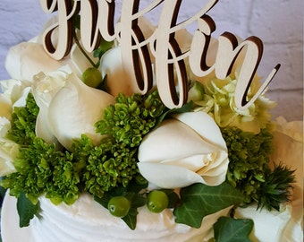 Custom Name Cake Topper - UNPAINTED Wooden Monogram Cake Topper - Wedding Cake Topper - Birthday Cake Topper