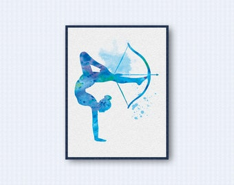 Archery Girl Watercolor Poster