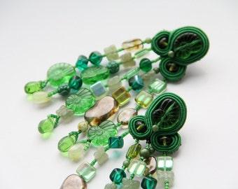 Green Beaded earrings / Green Fringe Earrings Soutache / Artisan Jewelry Handcrafted Earrings / Nautical Earrings Shell / Birthday Gift