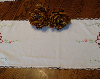 """On Sale Mid-Century Handmade Dresser Scarf - Floral Motif   Approximately 37 1/4"""" Long  x 12 1/4"""" Wide"""