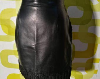 Leather skirt, Versace, genny .1980, made in italy, leather skirt