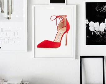 Manolo Blahnik shoes, Carrie Bradshaw, fashion wall art, fashion illustration print, digital download art, instant download, printable art