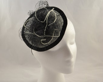 "Black ""Gatsby"" fascinator with pearls & veiling"